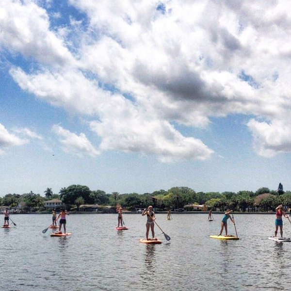 Paddleboard Yoga class from Lake Fun