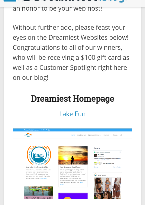 Lake Fun wins Prestigious Best Homepage Award